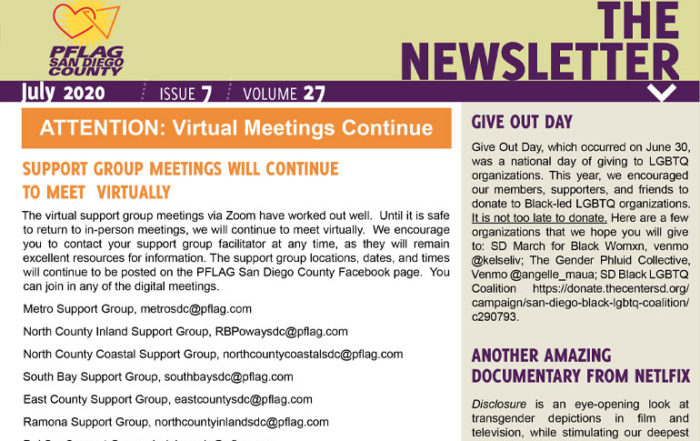 PFLAG San Diego County July 2020 Newsletter
