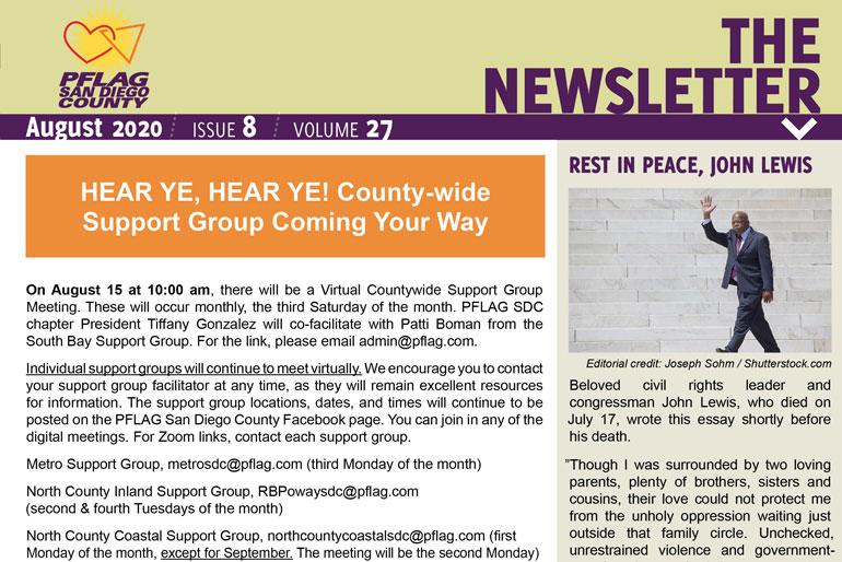 PFLAG SDC Newsletter-August 2020